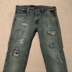 Levi's Redloop Selvedge Patchwork Skinny Jeans
